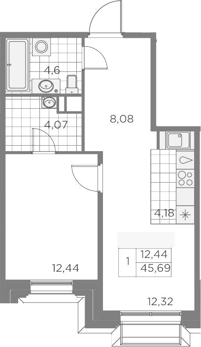 2Е-к.кв, 45.69 м², 3 этаж