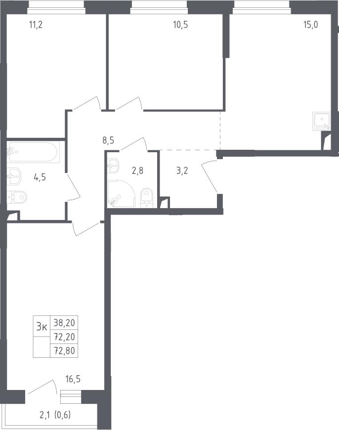 3-к.кв, 72.8 м²