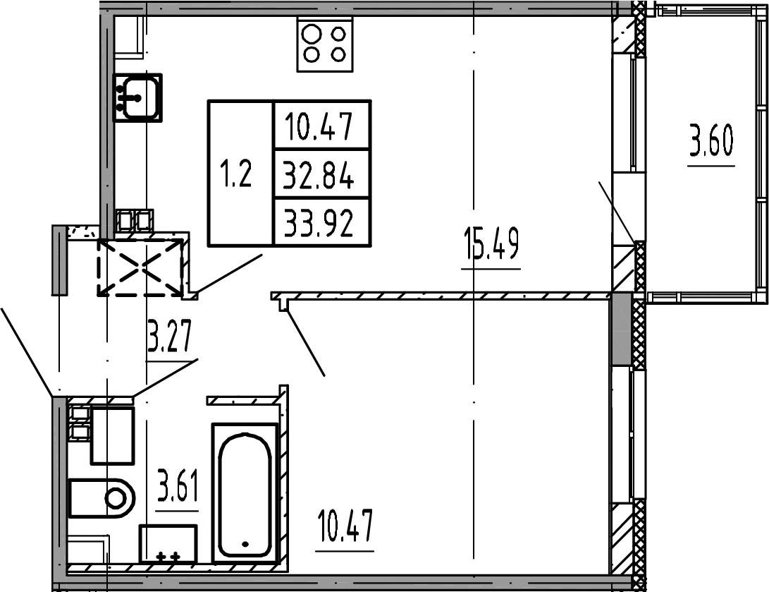 2Е-комнатная, 32.84 м²– 2