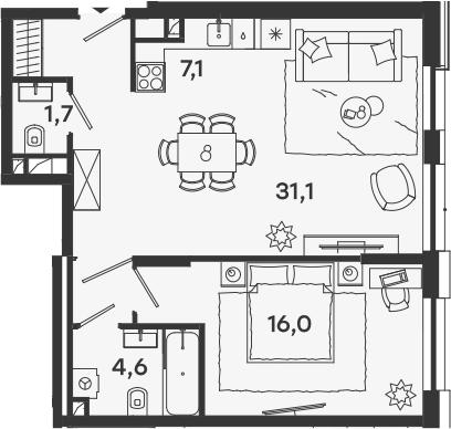 2Е-комнатная, 60.5 м²– 2