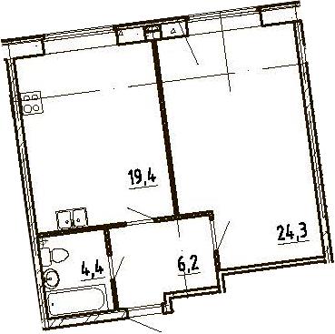 2Е-к.кв, 54.3 м², 2 этаж