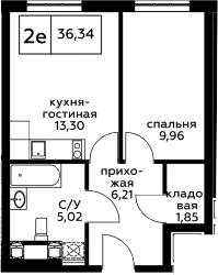 2Е-к.кв, 36.34 м², 24 этаж