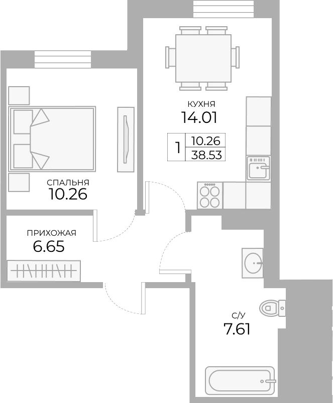 1-к.кв, 38.58 м²