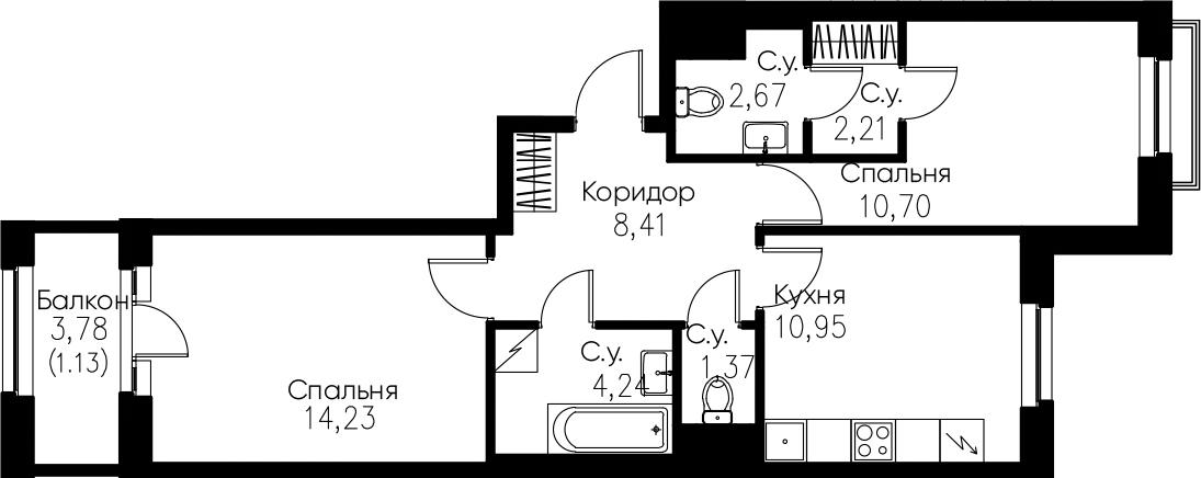 2-комнатная, 55.91 м²– 2