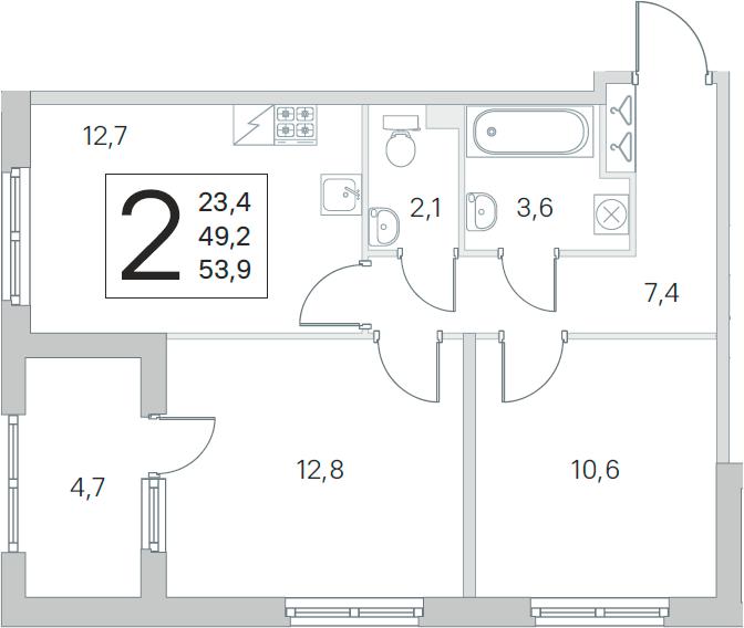 2-комнатная, 49.2 м²– 2