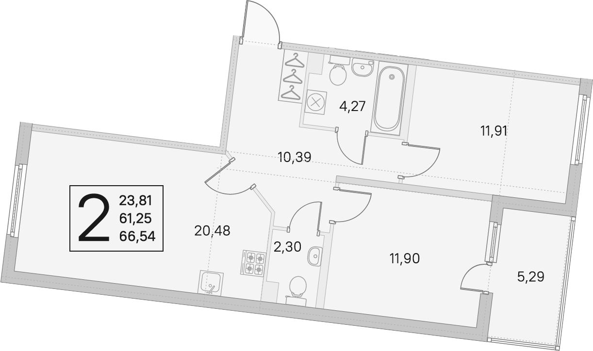 3Е-комнатная, 61.25 м²– 2