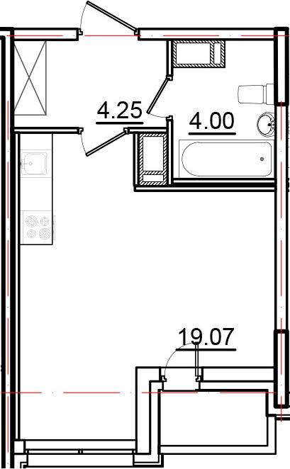 Студия, 28.29 м², 14 этаж