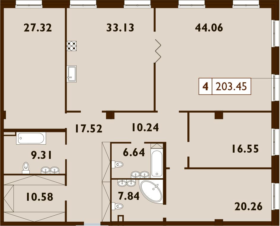 5Е-комнатная, 203.45 м²– 2