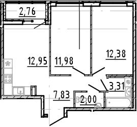 3Е-к.кв, 50.45 м²