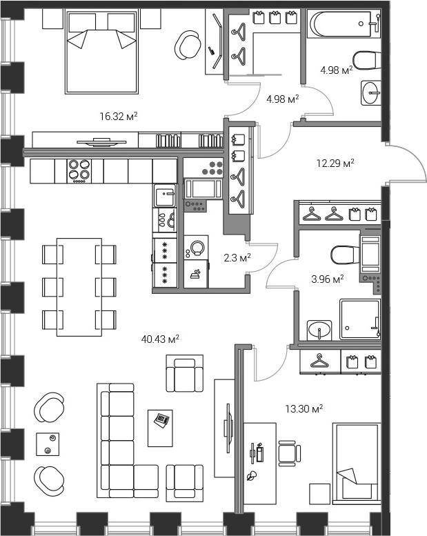 3Е-комнатная, 98.53 м²– 2