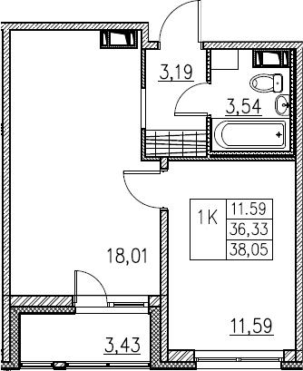 2Е-комнатная, 38.05 м²– 2