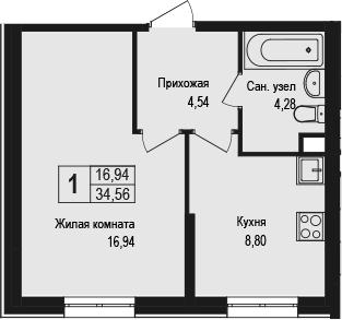 1-к.кв, 34.56 м²