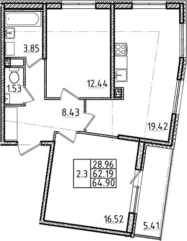 3Е-к.кв, 62.19 м²