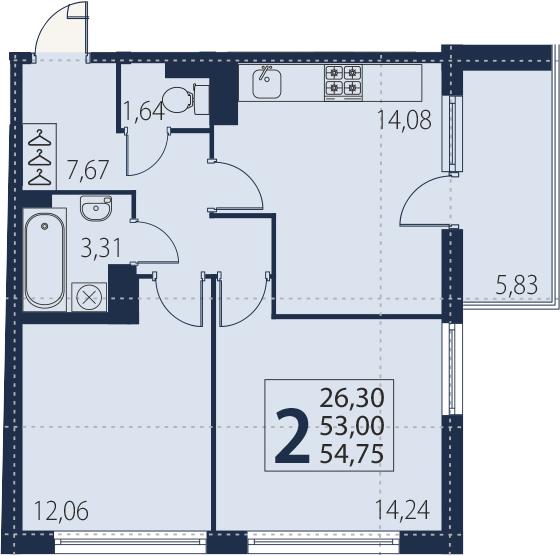 3Е-к.кв, 53 м²