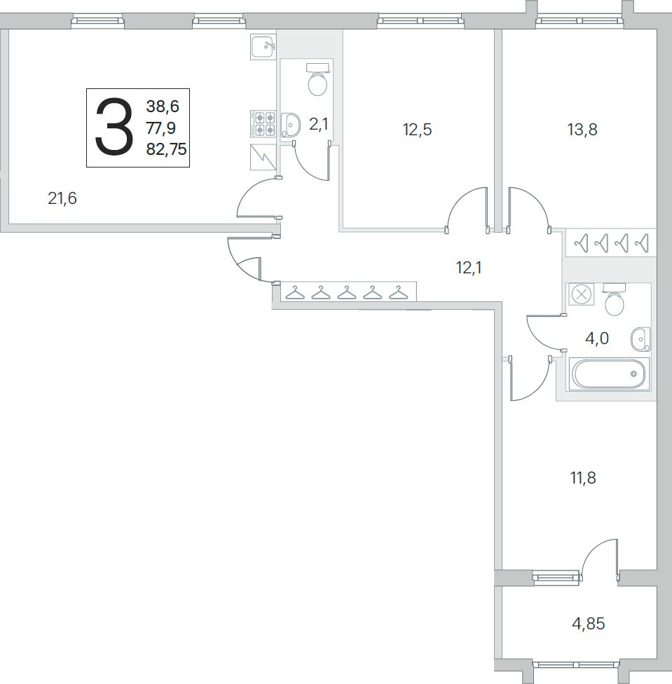 4Е-комнатная, 77.9 м²– 2