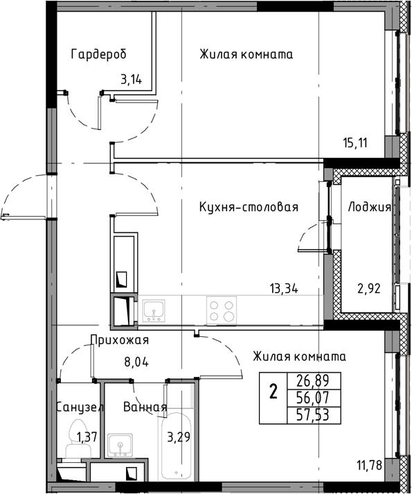 2-к.кв, 57.53 м², от 7 этажа