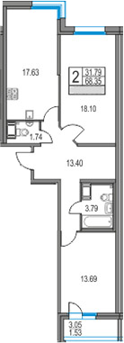 3Е-к.кв, 68.35 м², от 22 этажа