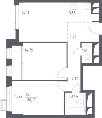 3Е-комнатная, 60.19 м²– 2