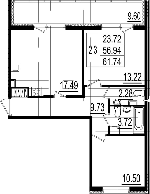 3Е-комнатная, 56.94 м²– 2