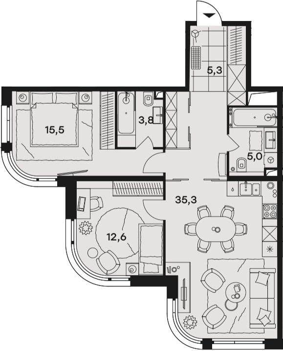 3Е-к.кв, 77.5 м²