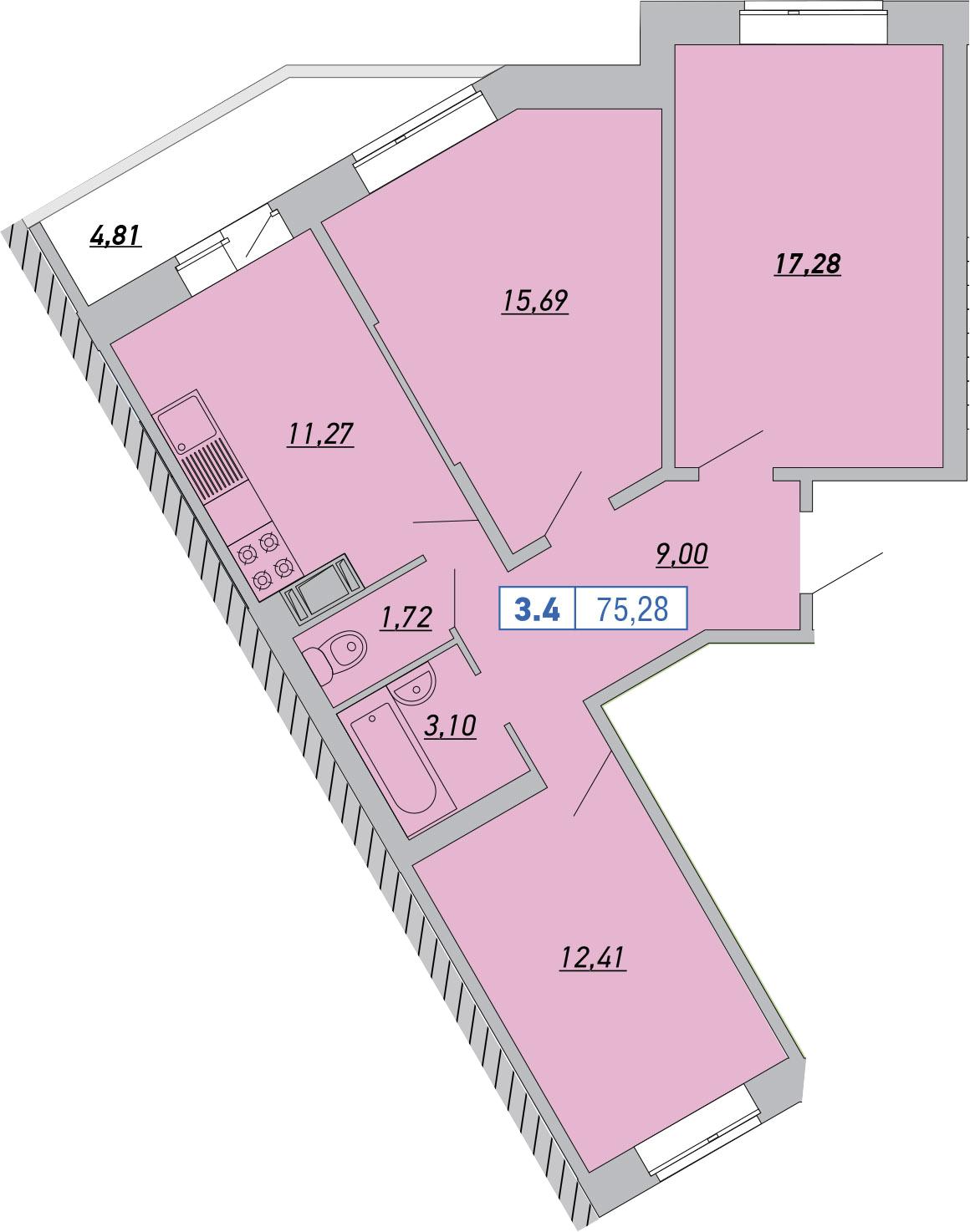 3-к.кв, 75.28 м²