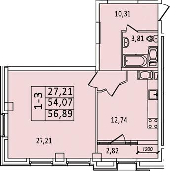 1-к.кв, 59.71 м²