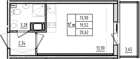 Студия, 19.52 м², 3 этаж