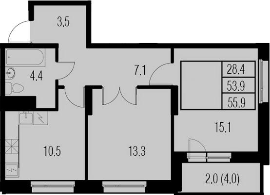 2-к.кв, 57.9 м²
