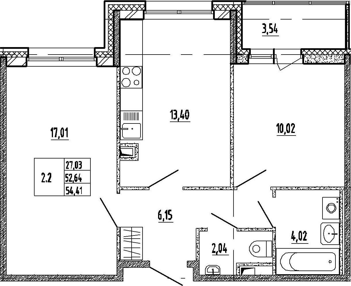 2-к.кв, 56.18 м²