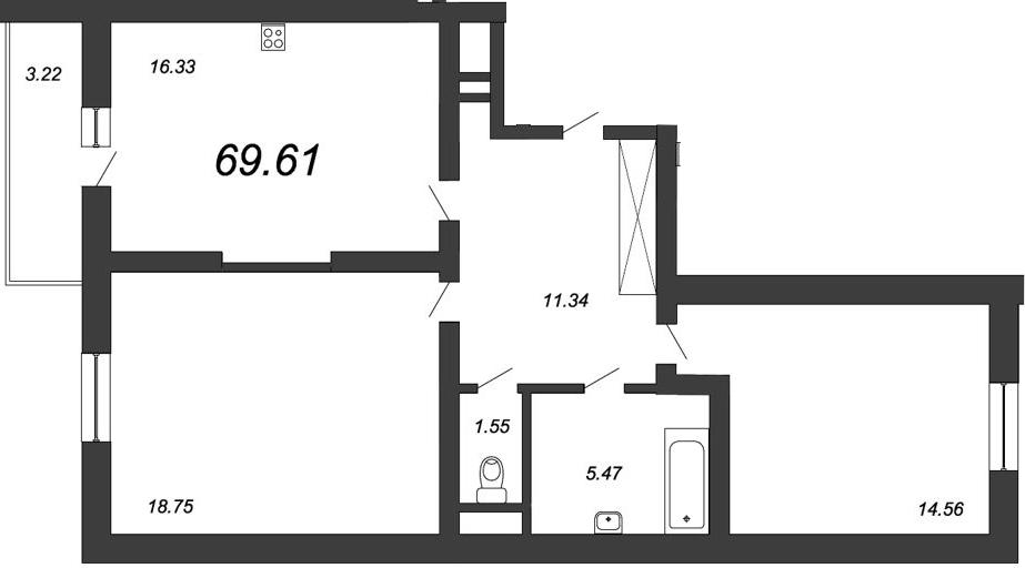 2-к.кв, 71.22 м²