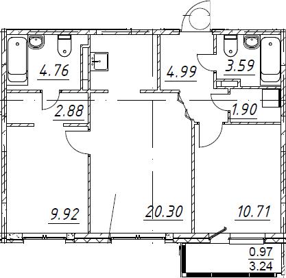 3Е-комнатная квартира, 60.02 м², 2 этаж – Планировка