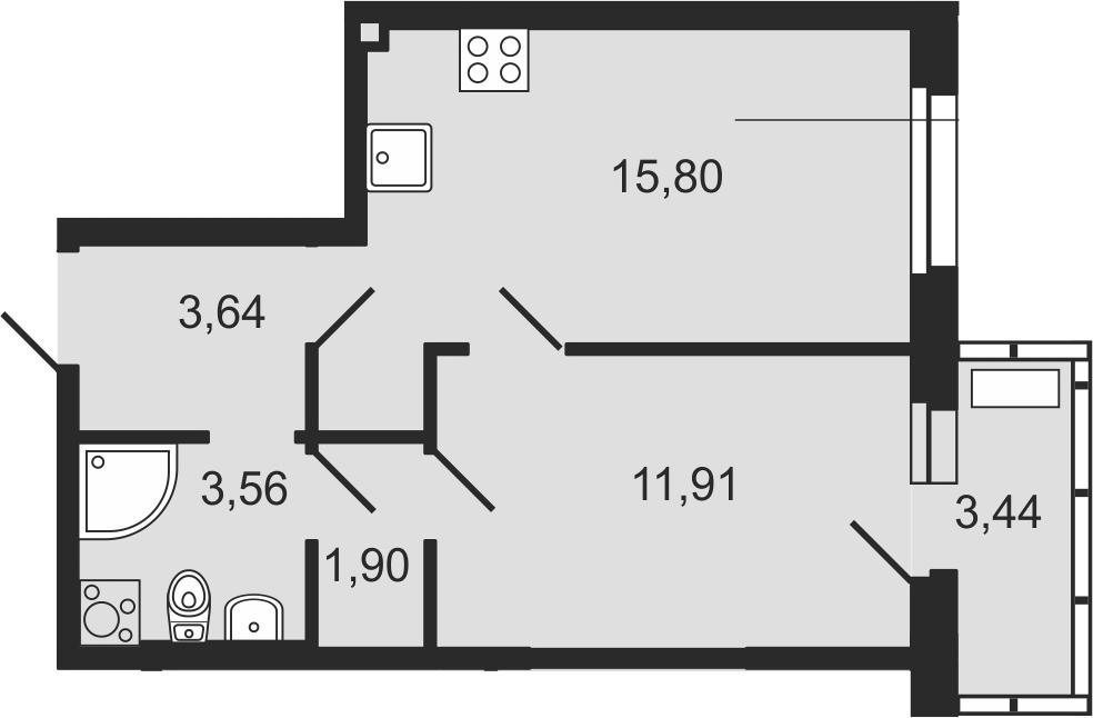 2Е-комнатная, 37.84 м²– 2