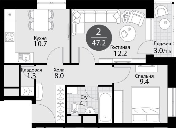 2-к.кв, 48.7 м²