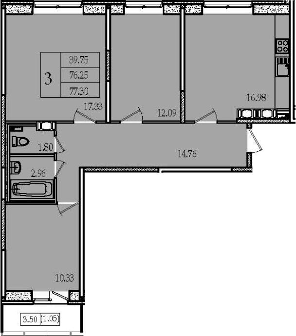 4Е-к.кв, 77.3 м², 12 этаж