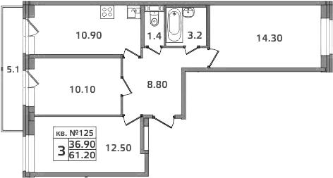 3-к.кв, 66.3 м²