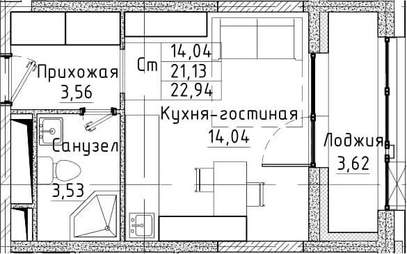 Студия, 22.94 м²– 2