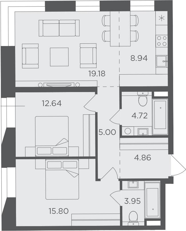 3Е-комнатная, 75.09 м²– 2