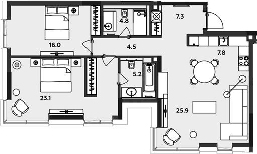 3-к.кв (евро), 94.6 м²