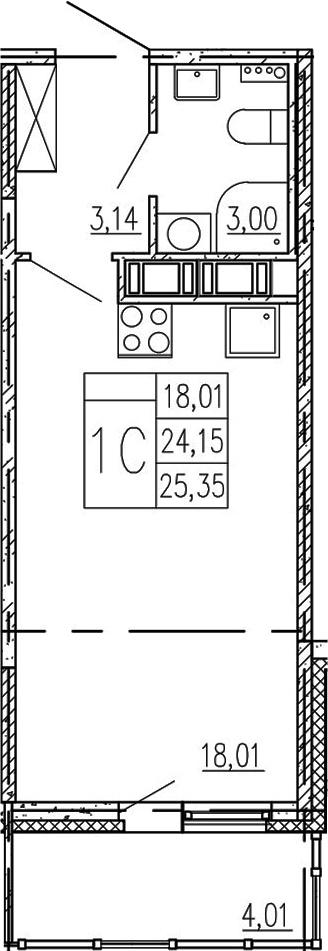 Студия, 28.16 м²