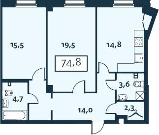 2-к.кв, 74.75 м²