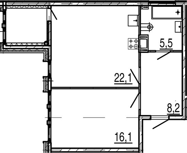 2Е-к.кв, 54.1 м², 8 этаж