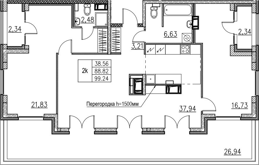 3Е-комнатная, 99.24 м²– 2
