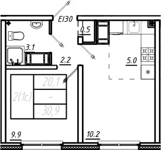2Е-к.кв, 30.9 м², от 4 этажа