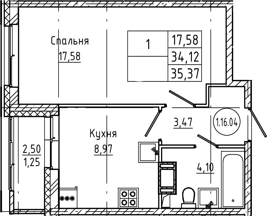 1-к.кв, 35.37 м², от 3 этажа
