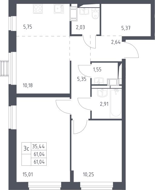 3Е-к.кв, 61.04 м²