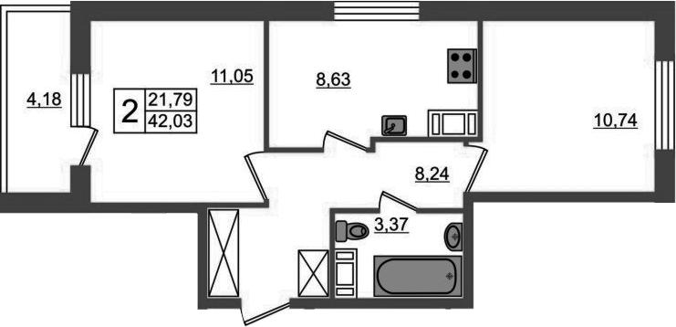 2-к.кв, 46.21 м²