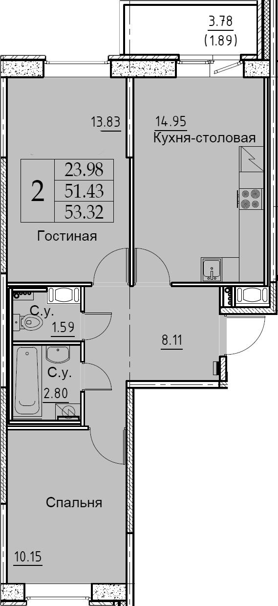 2-к.кв, 53.32 м², от 7 этажа