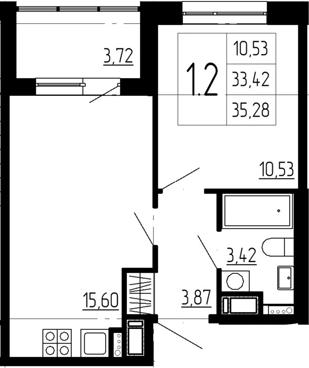 2Е-комнатная, 33.42 м²– 2