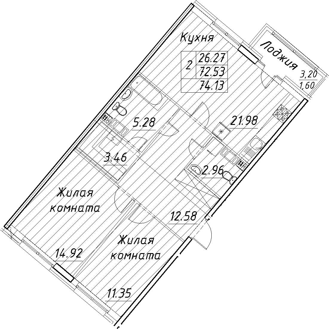 3-к.кв (евро), 75.73 м²