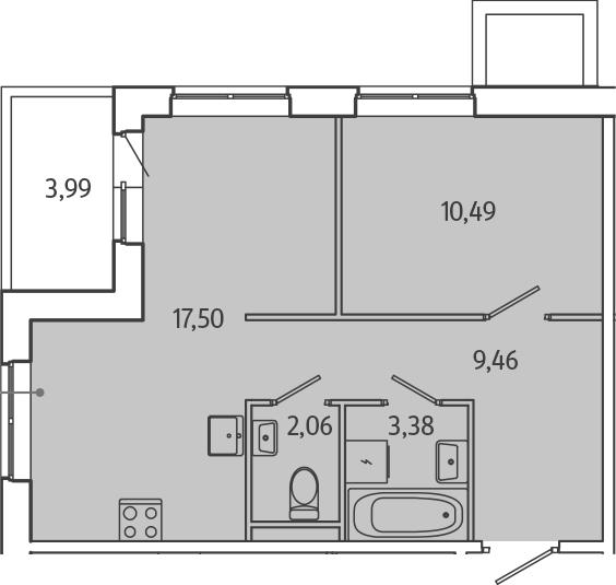 2Е-комнатная, 44.09 м²– 2